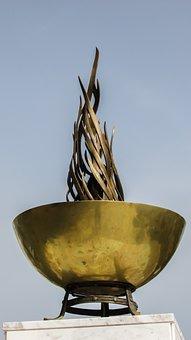 Cyprus, Paralimni, Monument, Flame, Tripod