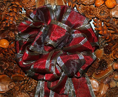 Ribbon, Bow, Christmas, Pine Cones, Dried Teasel