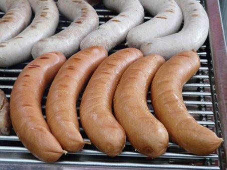 Grilling, Barbecue, Sausage, Red Sausage, White Sausage