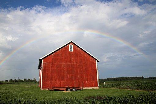 Rainbow Barn, Barn, Red Barn, Old Barn, Barn Back