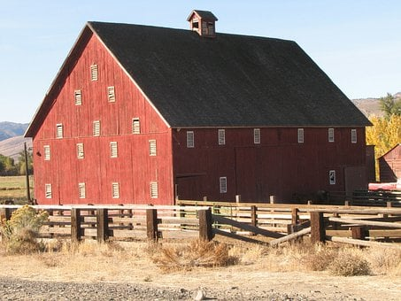 Red Barn, Dayville, Oregon, Eastern, Usa, Old West