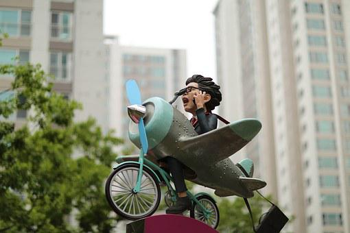 Characters, Plane, Outdoor, Bike, Figure, Toy, Ride
