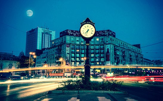 Piata Romana, Romania, Europe, City, Clock, Buildings