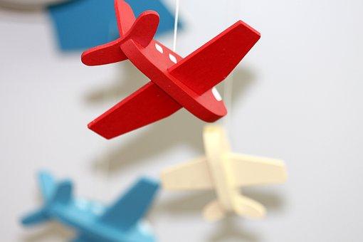 Plane, Toys, Red, Light Background