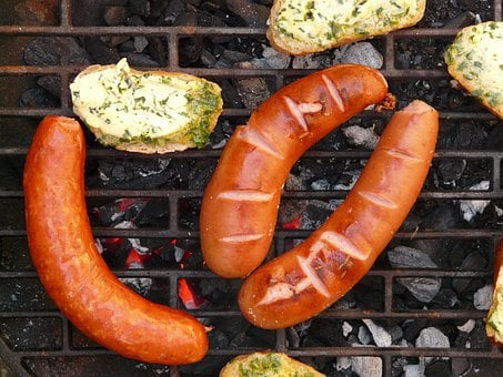 Sausage, Red Sausage, Bread, Herb Butter, Barbecue