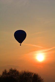 Captive Balloon, Sunset, Balloon, Sky, Lighting
