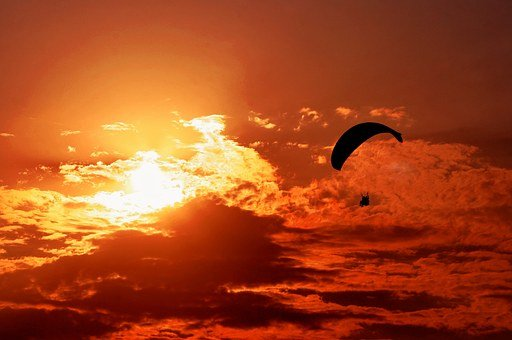 Sunset, Orange, Sun, Paragliding, Parachute, Sky, Air