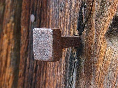 Nail, Old, Rusty, Door, Log, Iron, Texture, Detail