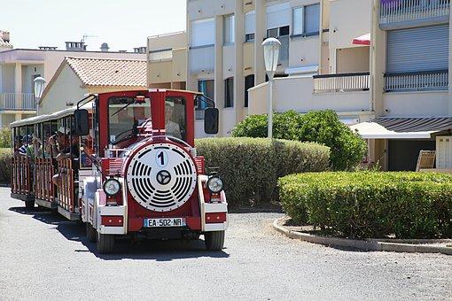 Little Train, Holiday, Travelers, Red, Train, Promenade