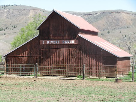 Two Rivers Ranch, Dayville, Oregon, Red, Barn, Pasture