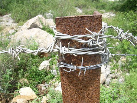 Barbed, Wire, Galvanized, Pole, Rusty, Metal, Iron