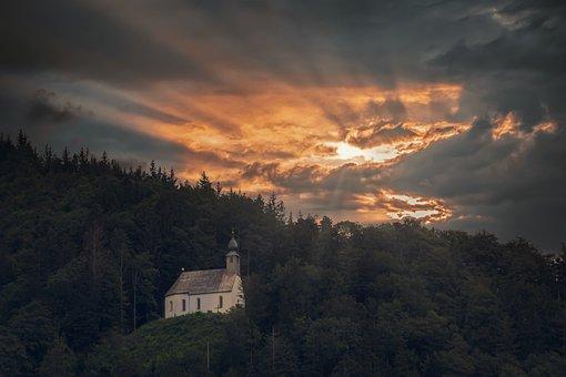 Chapel, Schnappenberg, Chiemgau, Church, Afterglow
