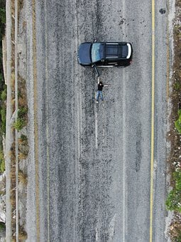 Car, Vehicle, Person, Male, Pose, Road, Asphalt