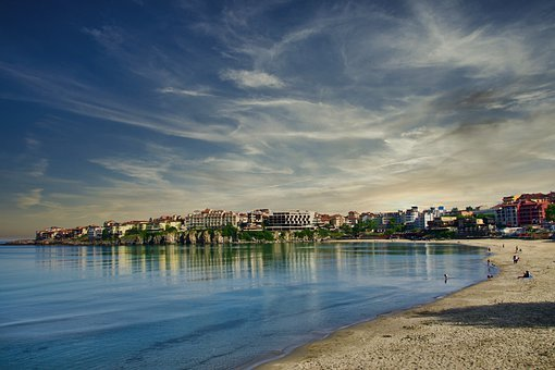 Bay, Coast, Waterfront, Beach, Sky, Clouds, Sand, Town