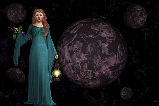 Women, Planets, Candle, Light, Mystic, Fantasy