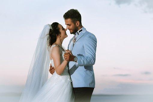 Couple, Marriage, Bride, Groom, Wedding, Romantic
