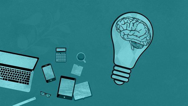 Computer, Laptop, Mobile, Brain, Light Bulb, Ideas