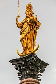 Madonna, Statue, Gold, Gilded, Child, Figure, Maria