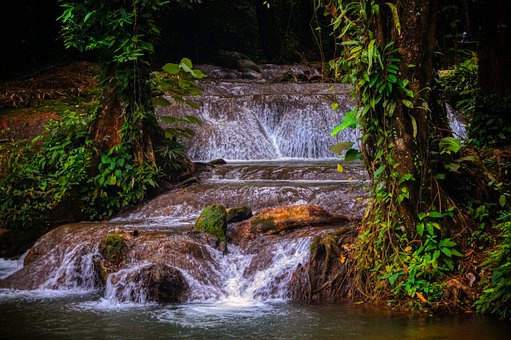 River, Waterfall, Water, Stream, Thailand, Stones, Mood