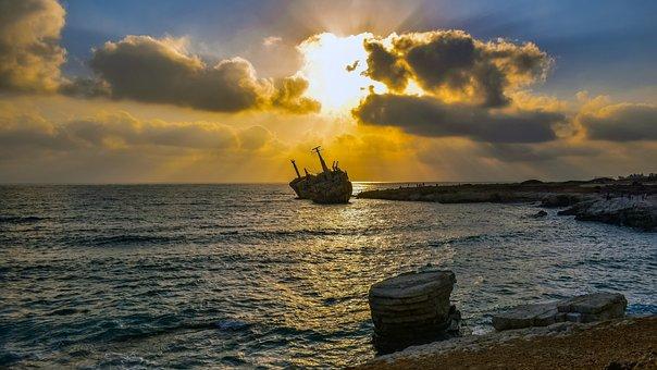 Shipwreck, Sea, Sky, Clouds, Sunset, Sun, Boat, Wreck