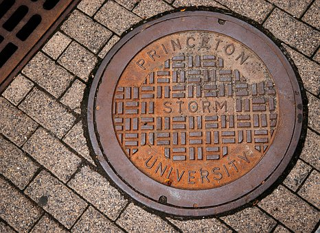 Manhole, Princeton, Pavement, University, Campus, Old
