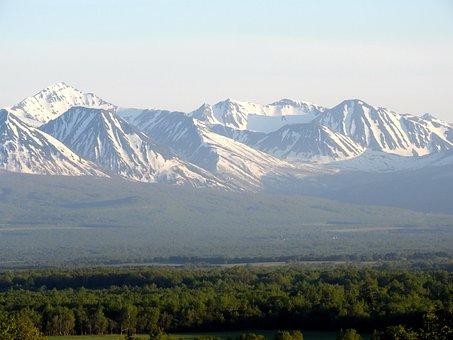 Mountains, Ridge, Vertices, Snow, Field, Trees, Grass