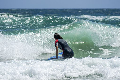 Surf, Waves, Woman, Female, Surfer, Sea, Ocean, Shore