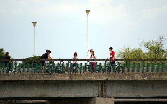 Bridge, People, Bicycle, Lake, Park, Entertainment