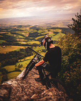 Bike, Bycicle, Man, Male, Mountain, Helmet, Landscape