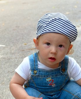 Baby, Boy, Overalls, Childhood, Cute, Cap, Sitting