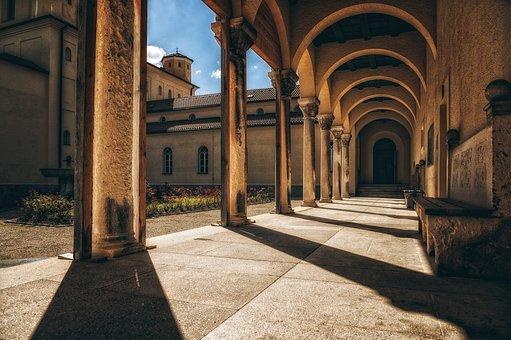 Columns, Arcade, Courtyard, Building, Architecture