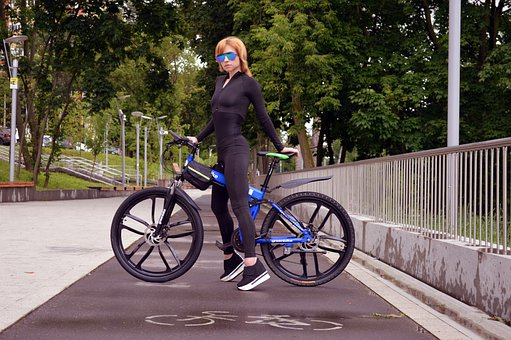 Bike, Cycling, Woman, Girl, Bike Path, Health, City