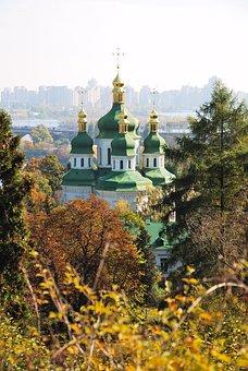 Monastery, Vydubetsky Monastery, Domes, Cupolas, Golden