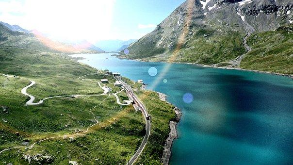 River, Train, Grass, Fiels, Hills, Pasture, Mountains