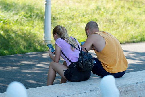 Couple, People, Young People, Mobile Phones, Backpack