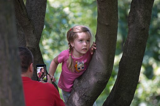 Girl, Child, Hang, Arbor, Man, Dad, Photographing