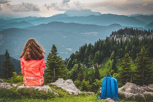 Woman, Rocks, Forest, Siiting, Morgenstimmung, Alpine