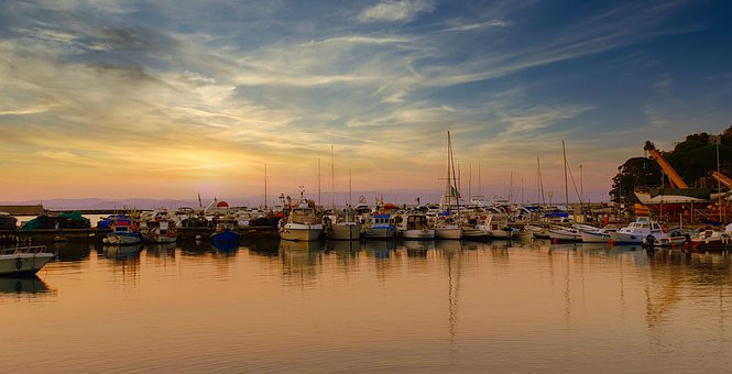 Sea, Sunset, Sky, Boats, Landscape, Twilight, Clouds
