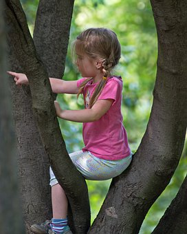 Girl, Child, Hang, Arbor, Park, Showing, The Finger