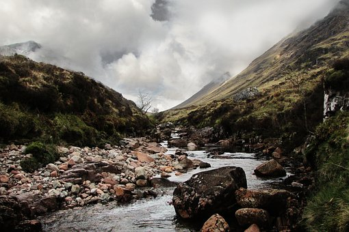 Mountains, Valley, Highlands, River, Stream, Water