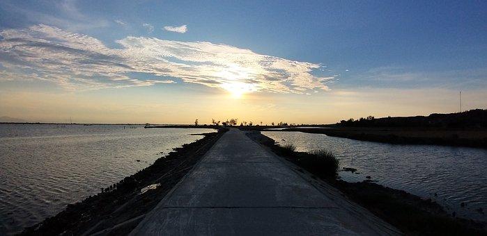 Sunset, Water, Light, Sky, Cloud, Boat