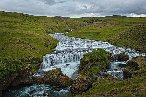 Waterfall, River, Stream, Grass, Field, Pasture, Water