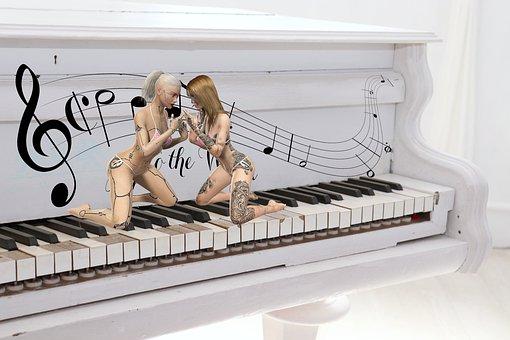 Composing, Women, Character, Piano, Music, Keys, Notes