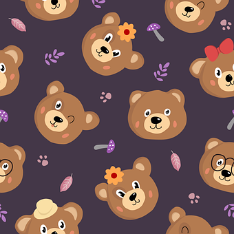 Pattern, Bears, Character, Teddy-bear, Animals