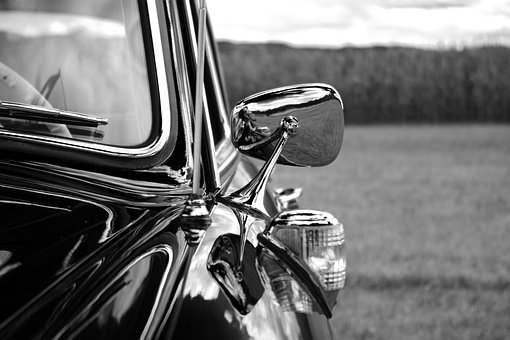 Auto, Mirror, Side Mirror, Door, Mercedes, Benz, Retro