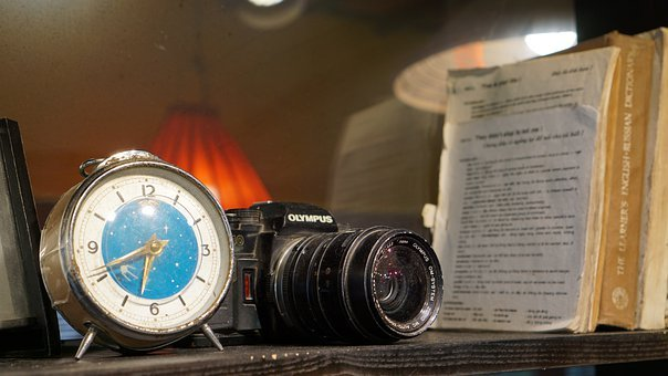 Camera, Lens, Antique, Bookshelf, Table, Clock
