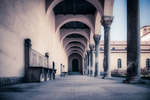 Columns, Bench, Building, Architecture, Vault, Stone