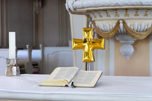 Altar, Cross, Bible, Book, Candle, Church, Saarbrücken