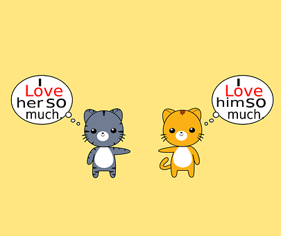 Cats, Animals, Cartoon, Chibi, Couple, Love, Character
