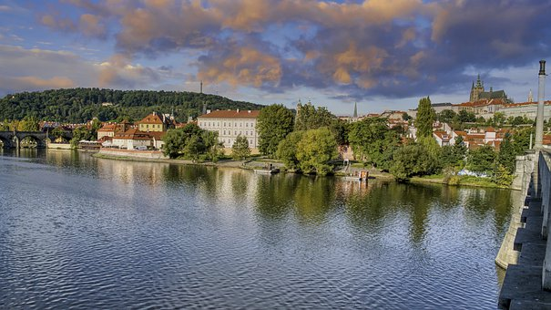 River, Houses, Tress, Buildings, City, Tourism